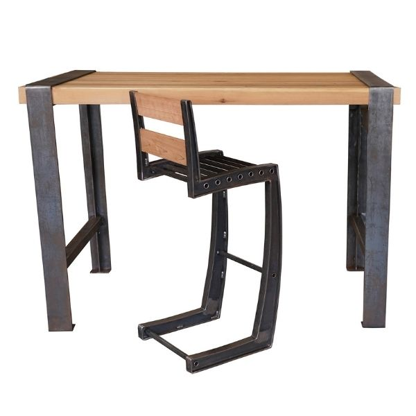 Wood and Metal Desk with Chair